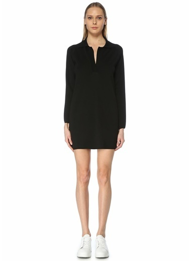 Academia Academia 101592196 Polo Yaka Mini Triko Kadın Elbise Siyah